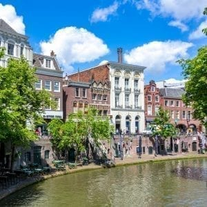 Utrecht two-level canals in summer, Netherlands
